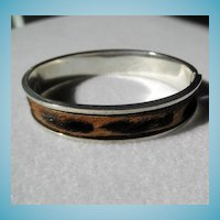 Unusual Sterling & Calf Hair Bangle Bracelet
