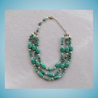 Attractive Turquoise & Cultured Pearl Three Strand Necklace
