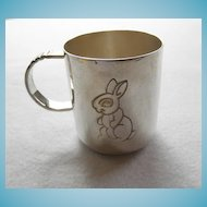 Adorable Bunny Cup Silver Plate