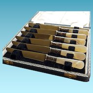 Six Cased Mother of Pearl Handled Fruit Knives