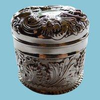 Antique English Sterling Dresser Jar