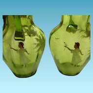 Antique Pair Mary Gregory Pitchers