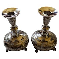 Pair Durham Sterling Chased Footed Candle Sticks