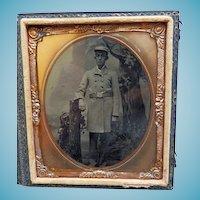 Cased 6Th Plate Tintype of Fireman In Dress Coat Uniform