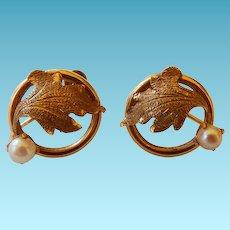 Vintage 14K Earrings Leaf & Cultured Pearl Screw Back