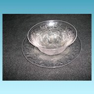 Webb Etched Glass  Finger Bowl and Under Plate