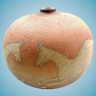 Vintage Terra Cotta Horse Vase Artist Signed 1986