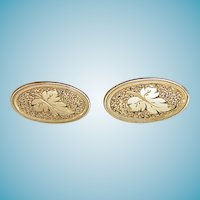 14K Victorian Earrings Etched Leaf Design
