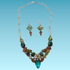 Vintage Sterling & Gemstones Statement Necklace & Earrings