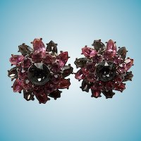 Crown Trifari Clip Back Sparkle Earrings