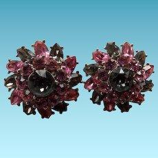 Crown Trifari Clip Back Sparkle Earrings