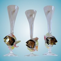 Set of 3 Venetian Glass Hand Blown Signed Fish Flutes