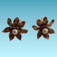 Estate 14K Yellow Gold Flower Earrings With Rubies & Cultured Pearl Screw Backs