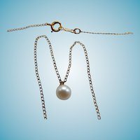 14K Yellow Gold Chain With Single Cultured Pearl