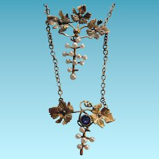 10K Yellow Gold Victorian Necklace With Seed Pearls & Amethyst