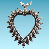 14K White Gold Open Heart Double Row Diamond Pendant On 14K Chain