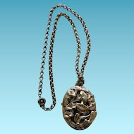 Art Nouveau Floral Pendant On Belcher Chain