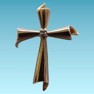 Modernist 14K Yellow Gold Cross Pendant With Diamond