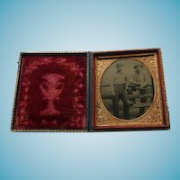 Occupational Cased Tintype Two Men With Tools