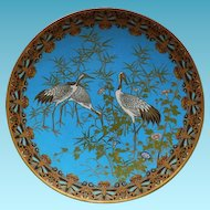 "Japanese Meiji 12"" Cloisonne Charger With Three Cranes"