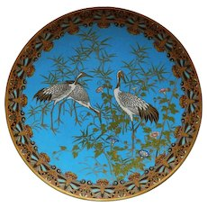 """Japanese Meiji 12"""" Cloisonne Charger With Three Cranes"""