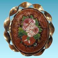 Victorian Micro-Mosaic Brooch/Pin Set In Goldstone