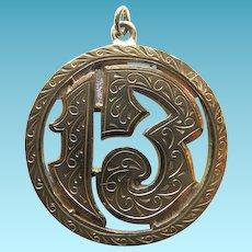 Vintage 18 Karat Yellow Gold Lucky 13 Charm or Pendant