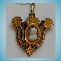 Victorian Etruscan Revival Hardstone Cameo Necklace