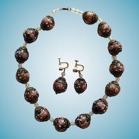 Venetian Wedding Cake Beaded Choker Necklace & Earrings