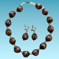 Venetian Wedding Cake Beaded Choker Necklace & Earrings