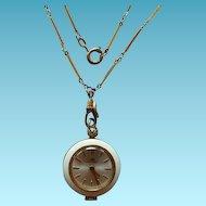 Vintage Bucherer Enamel Pendant Watch On Art Deco Gold Filled Ladies Watch Chain