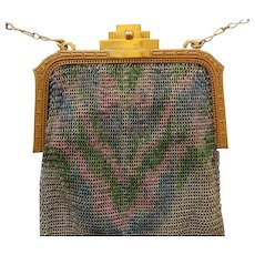 Whiting & Davis Art Deco Mesh Purse With Mirror