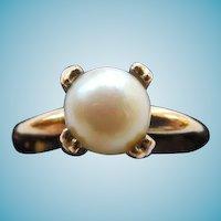 Vintage 10K GF Cultured Pearl Ring