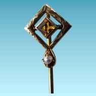 Art Deco 14K Stick Pin With Citrine & Cultured Seed Pearl