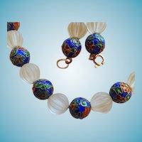 14K Cloisonne & Crystal Choker Style Necklace