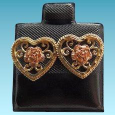 Vintage 14K Yellow & Pink Gold Heart & Rose Earrings For Pierced Ears
