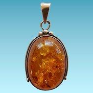 Sterling Silver & Baltic Honey Amber Pendant