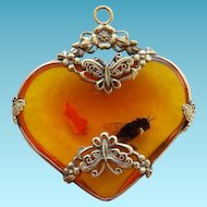 """Faux Amber Heart Pendant With """"Bug"""""""