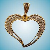 Vintage 14K YG Open Filigree Heart Pendant