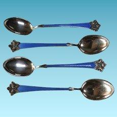 Set of Four Sterling & Enamel Demi-Tasse Spoons Norway