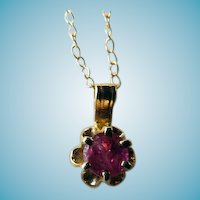 14k Ruby Pendant On 14K Chain