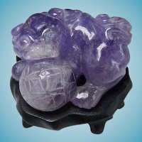 Vintage Chinese Carved Amethyst Foo Dog With Wooden Stand