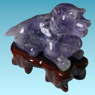 Vintage Carved Chinese Amethyst Dog