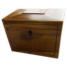 Regency Period Inlaid Mahogany Tea Caddy With Key