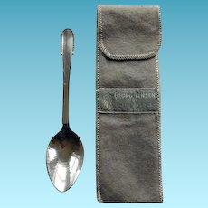 Georg Jensen Sterling Spoon Beaded Pattern With Felt Bag