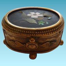 Antique Bronze Box With Pietra Dura Lid