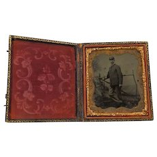 1/6 Plate Tintype Musician/Soldier With Bugle