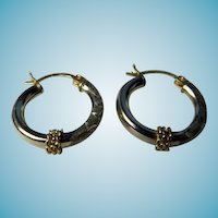 Vintage 10K Yellow & White Gold Earrings Hoops