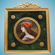 Antique French Limoges  Enamel Miniature Portrait Signed