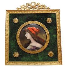 Antique French Limoges  Enamel Miniature Portrait Signed